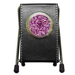 Pink Camo Pen Holder Desk Clocks