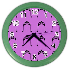 Violet Flower Hat Color Wall Clocks