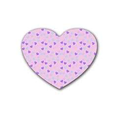 Blue Pink Hearts Heart Coaster (4 Pack)