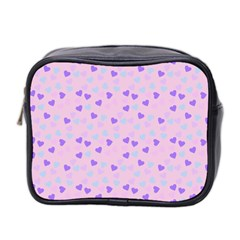 Blue Pink Hearts Mini Toiletries Bag 2 Side by snowwhitegirl