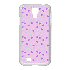 Blue Pink Hearts Samsung Galaxy S4 I9500/ I9505 Case (white)