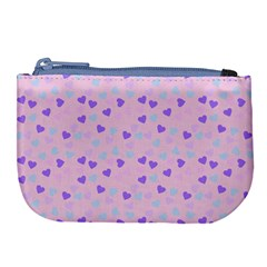 Blue Pink Hearts Large Coin Purse by snowwhitegirl
