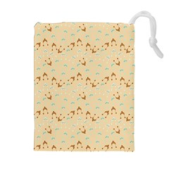 Winter Hats Beige Drawstring Pouches (extra Large) by snowwhitegirl