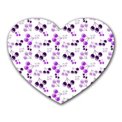 Purple Cherries Heart Mousepads by snowwhitegirl