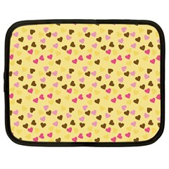 Beige Hearts Netbook Case (large) by snowwhitegirl