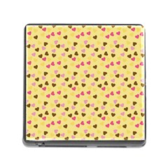 Beige Hearts Memory Card Reader (square) by snowwhitegirl