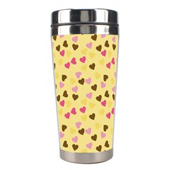 Beige Hearts Stainless Steel Travel Tumblers by snowwhitegirl