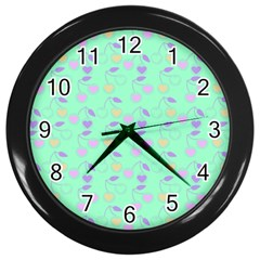 Mint Heart Cherries Wall Clocks (black) by snowwhitegirl