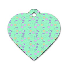 Mint Heart Cherries Dog Tag Heart (two Sides) by snowwhitegirl