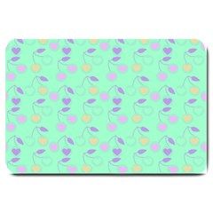 Mint Heart Cherries Large Doormat  by snowwhitegirl