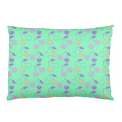 Mint Heart Cherries Pillow Case by snowwhitegirl
