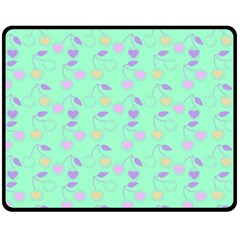 Mint Heart Cherries Fleece Blanket (medium)  by snowwhitegirl