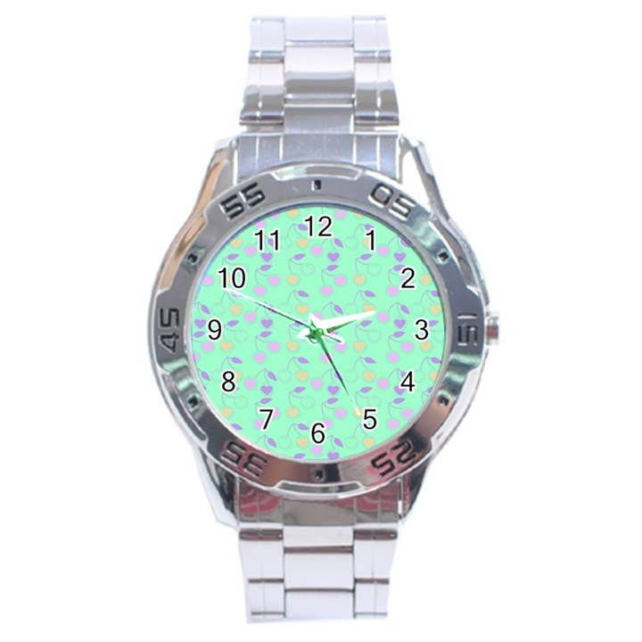 Mint Heart Cherries Stainless Steel Analogue Watch