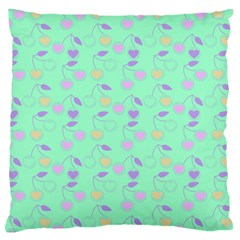 Mint Heart Cherries Large Cushion Case (one Side) by snowwhitegirl
