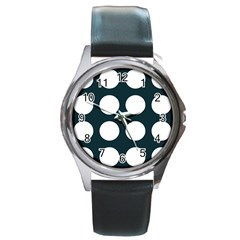Big Dot Teal Blue Round Metal Watch by snowwhitegirl
