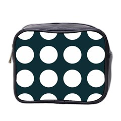 Big Dot Teal Blue Mini Toiletries Bag 2 Side