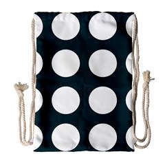 Big Dot Teal Blue Drawstring Bag (large)