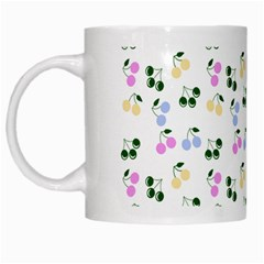 Green Cherries White Mugs