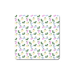 Green Cherries Square Magnet