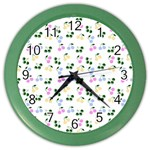 Green Cherries Color Wall Clocks Front