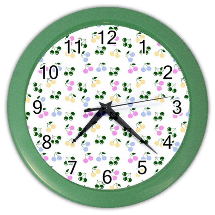 Green Cherries Color Wall Clocks
