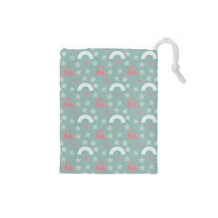 Music Stars Sky Blue Drawstring Pouches (small)  by snowwhitegirl