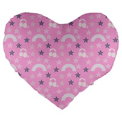 Music Star Pink Large 19  Premium Heart Shape Cushions by snowwhitegirl