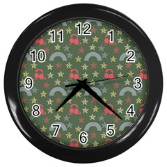 Music Stars Grass Green Wall Clocks (black) by snowwhitegirl