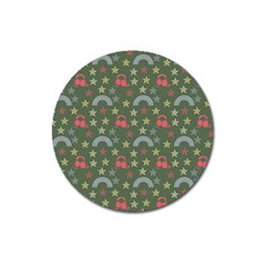 Music Stars Grass Green Magnet 3  (round) by snowwhitegirl