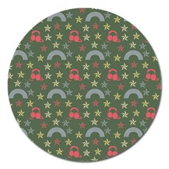 Music Stars Grass Green Magnet 5  (round) by snowwhitegirl