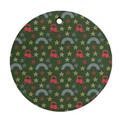 Music Stars Grass Green Round Ornament (two Sides) by snowwhitegirl