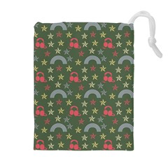 Music Stars Grass Green Drawstring Pouches (extra Large) by snowwhitegirl