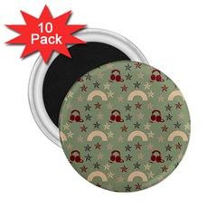 Music Stars Green 2 25  Magnets (10 Pack)