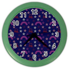 Music Stars Navy Color Wall Clocks by snowwhitegirl