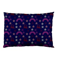 Music Stars Navy Pillow Case (two Sides) by snowwhitegirl