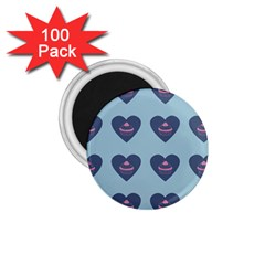 Cupcake Heart Teal Blue 1 75  Magnets (100 Pack)  by snowwhitegirl