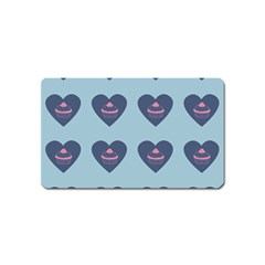 Cupcake Heart Teal Blue Magnet (name Card)