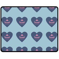 Cupcake Heart Teal Blue Fleece Blanket (medium)  by snowwhitegirl