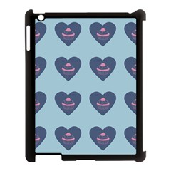 Cupcake Heart Teal Blue Apple Ipad 3/4 Case (black)