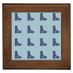 Deer Boots Teal Blue Framed Tiles by snowwhitegirl