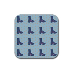 Deer Boots Teal Blue Rubber Coaster (square)  by snowwhitegirl