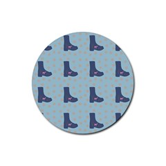 Deer Boots Teal Blue Rubber Round Coaster (4 Pack)  by snowwhitegirl