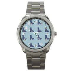 Deer Boots Teal Blue Sport Metal Watch by snowwhitegirl