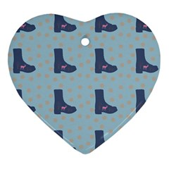 Deer Boots Teal Blue Heart Ornament (two Sides) by snowwhitegirl