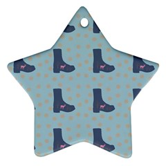 Deer Boots Teal Blue Star Ornament (two Sides) by snowwhitegirl