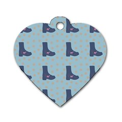 Deer Boots Teal Blue Dog Tag Heart (two Sides) by snowwhitegirl