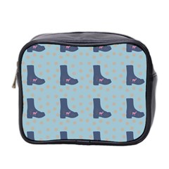 Deer Boots Teal Blue Mini Toiletries Bag 2 Side by snowwhitegirl