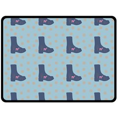 Deer Boots Teal Blue Fleece Blanket (large)  by snowwhitegirl