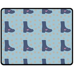Deer Boots Teal Blue Fleece Blanket (medium)  by snowwhitegirl