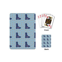 Deer Boots Teal Blue Playing Cards (mini)  by snowwhitegirl